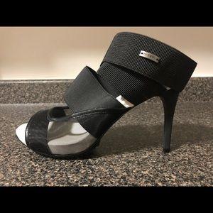 Diesel black mesh heel sandals